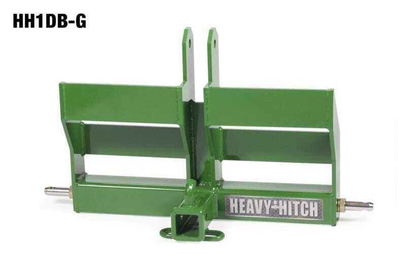 Category 1 Receiver Hitch and Dual Suitcase Weight Bracket for 3 Point Hitch - John Deere Green