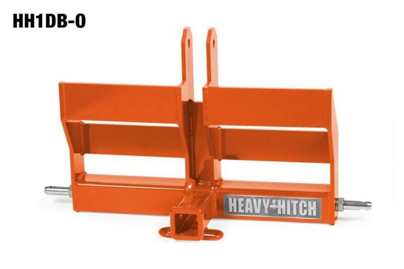 Category 1 Receiver Hitch and Dual Suitcase Weight Bracket for 3 Point Hitch - Kubota Orange