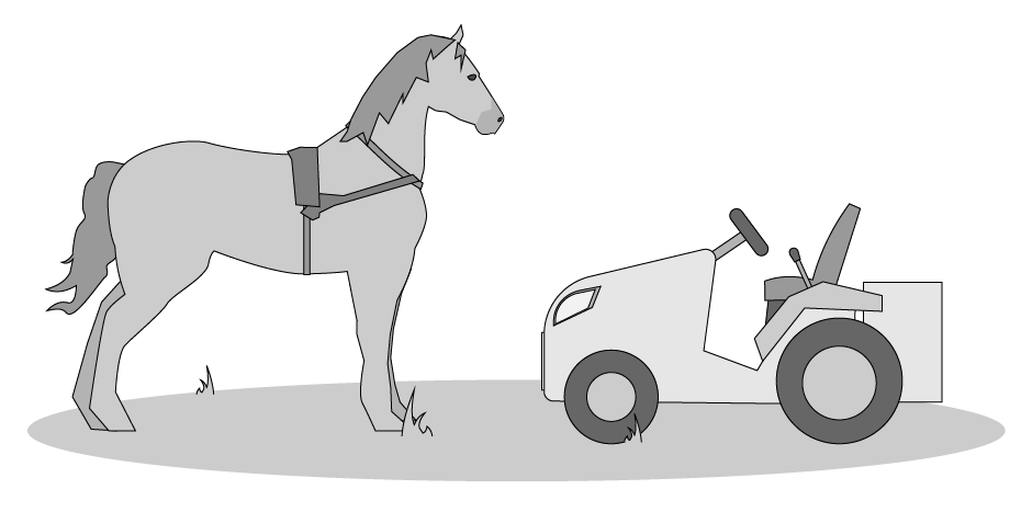 horse and tractor illustration